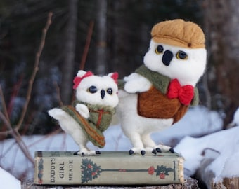 One-of-a-kind Book Owl Needle Felted Soft Sculpture Animal Bird Book by Bella McBride