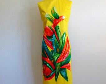 60s MOD Hawaiian shift dress with mandarin collar by Zacuto size medium NWT