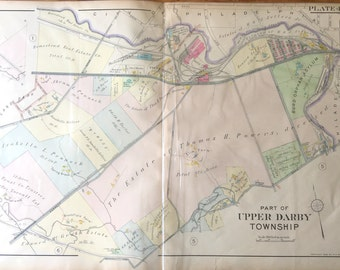 Original 1910 Delaware County Atlas map of part of Upper Darby Township Tower Theatre burd Asylum