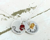 """14% off Valentines Sale- Personalized two 9/16"""" charms with crystals mother necklace - Engraved Necklace - Personalized Necklace - Mother Je"""