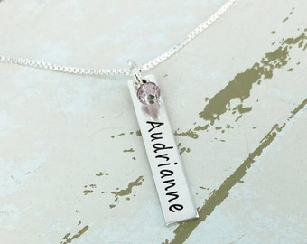 14% off Valentines Sale- Vertical name bar necklace with birthstone crystal - Personalized bar necklace - Personalized Necklace - Mother Nam