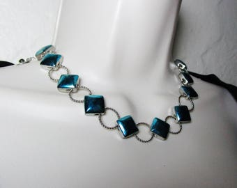 Vintage Liz Claiborne Iridescent Blue Modular Art Deco Mod Modern Retro Choker Elegance Statement Designer Chain Necklace High Fashion