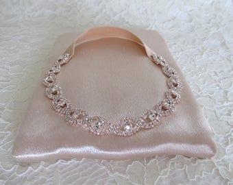 Rose Gold Crystal Rhinestone Bridal Garter,Wedding Garter,Bridal Accessories,Style #G36