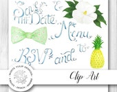 Watercolor Clipart - Southern Charms Wedding Typography and Artwork, Instant Download, Handpainted, Detailed Artwork