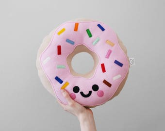 Pastel Pink Doughnut Fleece Cushion, Kawaii Donut, Kids Room Decor, Gift for Girl