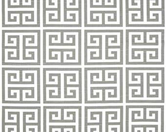 A pair ( two 50W x 244L panels) extra long  rod pocket drapes, curtains, drapes, towers greek key, ash gray and white slub