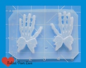 SALE MFL 2 Skeleton Hands Left and Right with Gothic Bows  Handmade Plastic Mold
