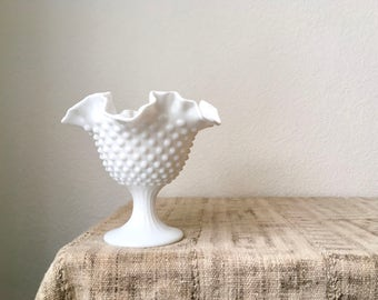 Vintage Milk Glass Hobnail Ruffled Edge Vase