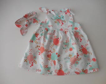 Baby toddler peach melon green aqua roses floral dress with shoulder ties