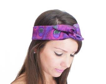 50% OFF Twist Scarf Purple Satin Peacock Print Headband Twist Bandana Shimmery Turban Multiple Look Headwrap