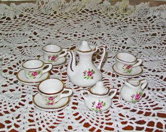 Vintage Toy Dishes - Porcelain Tea Set - Princess Pink Roses - Made In Taiwan - China Cups, Saucers, Teapot