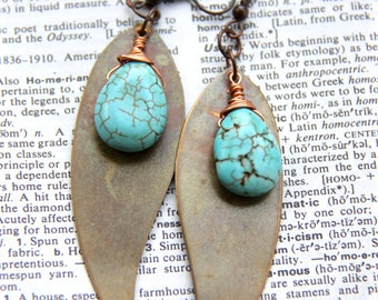 Turquoise Drops - Copper Wire Wrapped Turquoise Briolettes Earrings Over Bronze