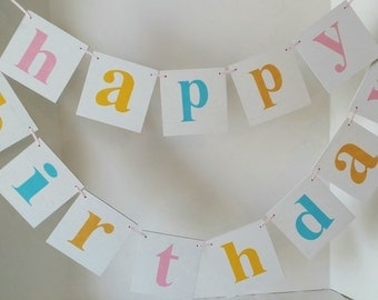 Happy Birthday Wood Banner 2 Piece Garland Shabby Chic Banner Multi Color Custom Wood Banner