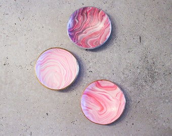 Pink polymer clay marble bowl, ring & jewellery dish, home decoration
