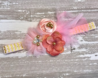 Pink Gold Baby Girl Headband, Fabric flower feathers pearl beads first birthday outfit, Newborn photo prop shiny baby shower gift toddler