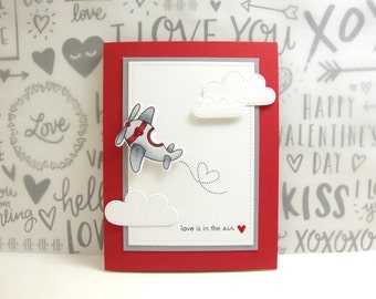 Valentine Card, Love Is In The Air Valentine Card, Airplane Valentine Card, Cute Valentine Card