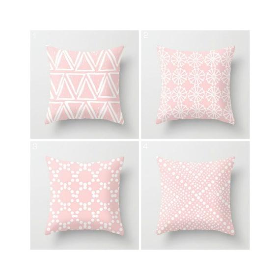 Blush PInk Throw Pillow - Modern Throw Pillow - Rose Quartz Cushion - Pale Pink Geometric Pillow - White - Throw Pillow 16 18 20 24 inch