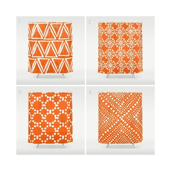 Orange Shower Curtain - Geometric Shower Curtain - Modern Shower Curtain - Designer Shower Curtain - Triangle Shower Curtain - Orange