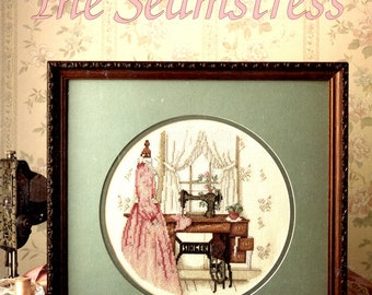 Needlewoman Seamstress Singer Treadle Sewi Machine Room Paula Vaughan Counted Cross Stitch Embroidery Craft Pattern Leaflet Leisure Arts 825