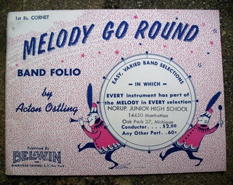 Vintage Music Booklet Melody Go Round Band Folio by Acton Ostling 1st Bb CornetPublished by BelWin