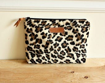 Leopard furry Pouch/clutch/ Zipper purse/ makeup bag /leather trim- Ready