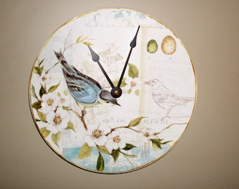 SILENT Bird Wall Clock, 9-1/4 Inches Ceramic Plate Clock, Unique Wall Decor, Kitchen Clock, Bird and Floral Wall Clock - 2260