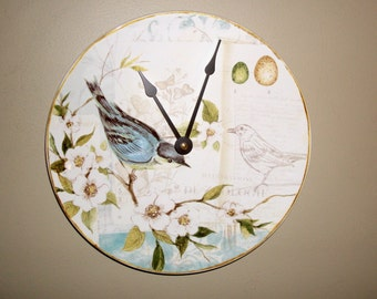 SILENT Bird Wall Clock, 9-1/4 Inches Ceramic Plate Clock, Unique Wall Decor, Kitchen Clock, Bird and Floral Wall Clock - 2386