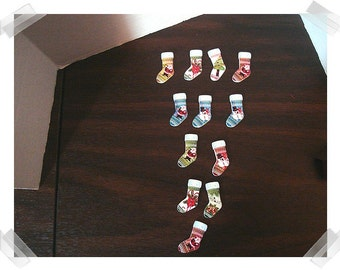 Wooden Christmas Stocking Buttons/ Set of 12- Assorted*/ Craft Supplies*