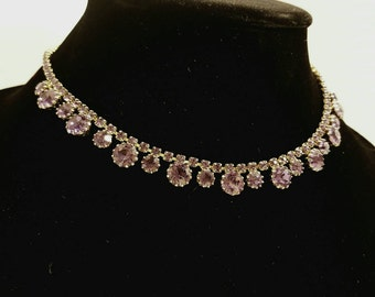 Vintage signed Weiss set necklace earrings and bracelet.  Beautiful purple Rhinestone.