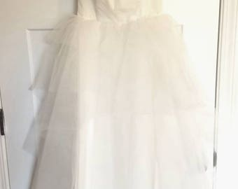 1950s Vintage off white shelf bust Wedding dress with a sheer shoulder wrap-cover up or prom-xs
