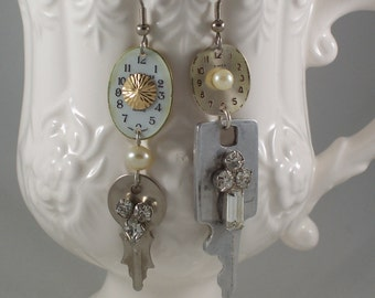 Watch Face Rhinestone Key Mismatch repurposed asymmetrical assemblage earrings by ceeceedesigns on etsy