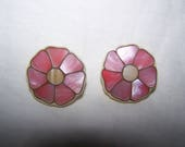 Vintage 1980s Inlaid Mother of Pearl Pierced Earrings Pink and Ivory Handmade Unique Feminine Shell Seashell Gift for Her Jewelry Accessory
