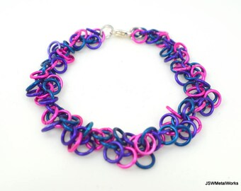 Pink, Blue and Purple Shag Chainmaille Bracelet, Colorful Aluminum Bracelet, Chainmail Bracelet, Chain Mail, Renaissance, Gift under 25