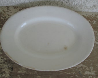 White Ironstone Platter Soap Dish Greenwood Trenton NJ Simply White Decor  Victorian Country Cottage Chic Rustic Prairie Serving