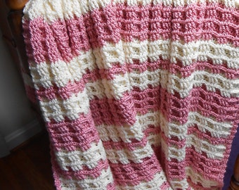 Hand Crocheted Pink and Ecru Baby Blanket - Waffle Stripes Baby Afghan - Caron Rose Bisque and Naturally Spa Yarn - Free U.S Shipping