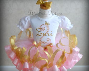 Pink and Gold Girls 2nd Birthday Outfit, Ribbon Trimmed tutu, first birthday dress baby girls first 1st birthday 3rd 4th 5th birthday