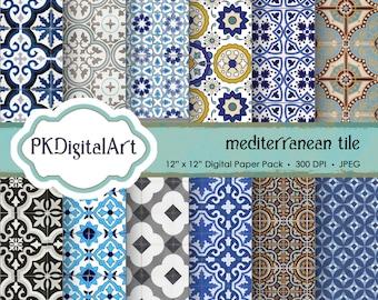 "Mediterranean Tile Digital Paper - ""Mediterranean Tile""  Scrapbook Paper Backgrounds Design Projects Crafting Supplies"