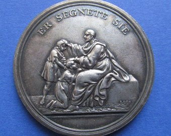 Antique German Solid Silver Religious Medal Jesus Blessing The Children Signed Loos Circa 1800  SS493