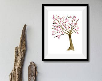 Almond Tree art print, watercolor print, Almond tree  painting, Pink, Brown, May blossom, minimalist art,  mountain of spices, mothers day