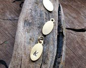Two initials engraved Oval gold Pendant - Custom order