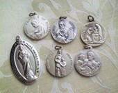 Lot of 6 Vintage Silver Filled Religious Medals