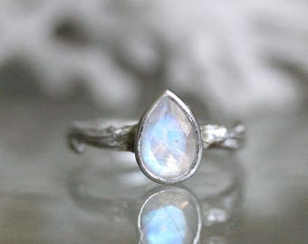 Genuine Rainbow Moonstone Twig Ring, Sterling Silver Ring, Gemstone Ring, Eco Friendly, Engagement Ring, Statements Ring - Made To Order