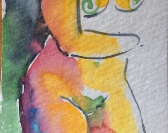 ACEO original watercolor painting model