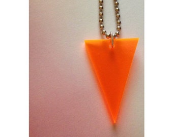Triangle Necklace in Orange Neon Lasercut Acrylic - Neon Necklace - Geometric Necklace - Fluorescent Orange