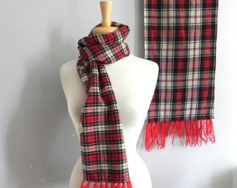 Lot of 2 Vintage Red Tartan Scarves / Red Scottish Wool Muffler Plus Bonus Matching scarf