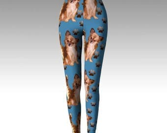 Chihuahuas on Blue leggings