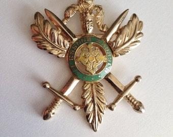 SALE Crossed Swords Crest Brooch Green Yellow Enamel