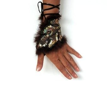 Coffee Brown Handlet Wrist Cuff Leaf Hand Corsage Brown Charm Leather Ties Bracelet Fingerless Glove, Evening Hand Fascinator OOAK Unique