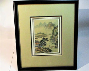 Reserved for Heather>>> Vintage Japanse Hand Painted River scene Watercolor on silk from the Eda Varricchio Gallery