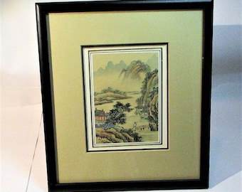 Vintage Japanse Hand Painted River scene Watercolor on silk from the Eda Varricchio Gallery